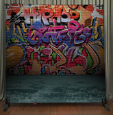 8x8 Printed Tension fabric backdrop (Graffiti Wall)