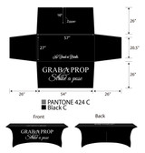 4ft Spandex Fabric Table Cover with Zipper in back (all black with white lettering)