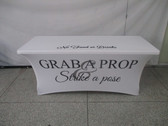6ft Spandex Fabric Table Cover with Zipper in back (all white with black lettering)
