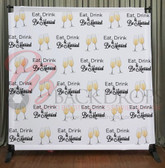 8x8 Printed Tension fabric backdrop (Eat Drink and Be Married)