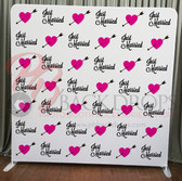 8X8 Single Sided Pillow Cover Backdrop (Just Married)