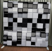 Single Sided Pillow Cover Backdrop  (black and white 3d cubes)