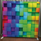 Single Sided Pillow Cover Backdrop  (Color 3d cubes)