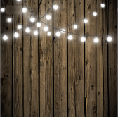 8x8 Printed Tension fabric backdrop (Dark Wood with String Lights)