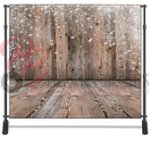8x8 Printed Tension fabric backdrop (Wood wall-floor holiday)