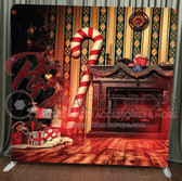 Single Sided Pillow Cover Backdrop  (Candy Cane Christmas)