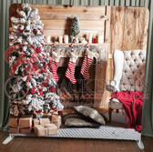 Single Sided Pillow Cover Backdrop  (Fireplace Stockings)
