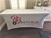 8ft Spandex Fabric Table Cover with Zipper in back (Custom Design)