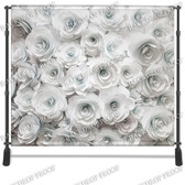 8x8 Printed Tension fabric backdrop (3D White Flowers)
