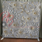 Single Sided Pillow Cover Backdrop  (Silver-Gold Flowers)