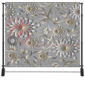 8x8 Printed Tension fabric backdrop (Silver-Gold Flowers)