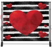 8x8 Printed Tension fabric backdrop (Black White Stripe Hearts)