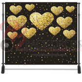 8x8 Printed Tension fabric backdrop (Gold Hearts)