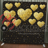Single Sided Pillow Cover Backdrop  (Gold Hearts)