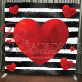 Single Sided Pillow Cover Backdrop  (Black White Stripe Hearts)