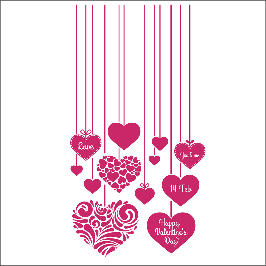 love heart tags, valentine's day decal set - for shop windows ...