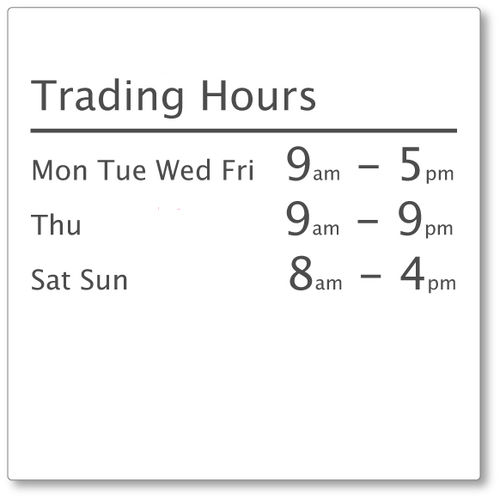 TRADING HOURS Shop Window decal #2