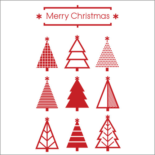 set of 9 Christmas trees decal - for shop windows