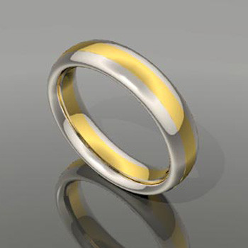 A blend of yellow and white gold in this modern comfort fit band. This custom designed wedding ring is designed to be Perfectly You, and takes about 3-5 weeks to create. Call us for more information about how we can make this design Just For You. Designed, and created in our studio by the artist Stuart J.