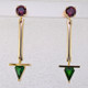 You will love these modern colorful earrings. They will make your ears happy. Created in 14 karat yellow and white gold, with beautiful Rhodolite Garnet gemstones at the top, and exquisite deep green Tsavorite Garnets delicately dangling on the bottom. These Garnet gemstone earrings measure 1 1/2 inches long, and hang from posts. Designed and handmade by the artist StuartJ.