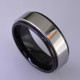 """For the innovative and unique man, this men's ring can be for many occasions. Wear it as a wedding ring, or just a stylish everyday fashion statement ring. This ring is ultra durable for the guy who plays rough. And no charge for re-sizing. This ring is 8mm wide in black ceramic, with a 6mm polished cobalt chrome overlay, polished to a silky smooth finish. Ring shown is a size 10, but call us with your finger size and we will make it just for you. Usually within just a few days.  This ring is hypoallergenic, and environmentally friendly. Made with Gem Ceramique, this ring uses high tech zirconia ceramic, virtually as hard as sapphire. Ultra durable and stylish, versatile and unique. It even has a Lifetime """"Peace of mind"""" warranty against breakage.  Created by award winning jewelry artist Etienne Perret, and made in his studio in Camden, Maine.  This ring is hypoallergenic, and environmentally friendly. Made with Gem Ceramique, this ring uses high tech zirconia ceramic, virtually as hard as sapphire. Ultra durable and stylish, versatile and unique. It even has a Lifetime """"Peace of mind"""" warranty against breakage.  Created by award winning jewelry artist Etienne Perret, and made in his studio in Camden, Maine."""