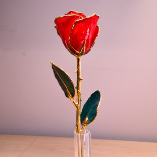 "Real semi-opened rose, with petals dipped in rich red lacquer and trimmed in 24kt gold. Stem is approximately 12"" long and is heavy gold plated. Each rose is elegantly wrapped in gold tissue and packaged in a gold, two-piece outer box. Price includes the vase, and regular shipping."