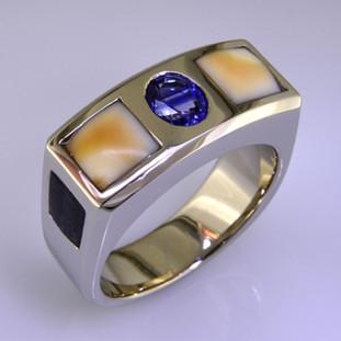 Mans white gold sapphire wedding ring. gts-124