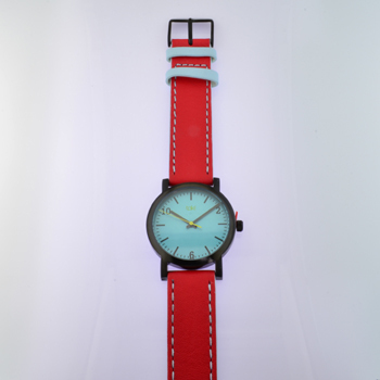 Here is time in full color. This Taki watch is fun, fun, fun! Fresh design, fresh color palette, all leather strap, a Japanese movement, and stainless steel bezels. Face measures 1 1/4 inches.  Clean simple designs with so many fun colors, it will make you happy every time you wear it. And at a very affordable price