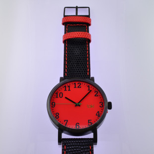 Here is time in full color. This Taki watch is fun, fun, fun! Fresh design, fresh color palette, all leather strap, a Japanese movement, and stainless steel bezels. Face measures 2 inches.  Clean simple designs with so many fun colors, it will make you happy every time you wear it. And at a very affordable price