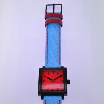 Here is time in full color. This Taki watch is fun, fun, fun! Fresh design, fresh color palette, all leather strap, a Japanese movement, and stainless steel bezels. Face measures 1 inch square.  Clean simple designs with so many fun colors, it will make you happy every time you wear it. And at a very affordable price