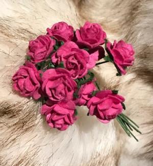 Fuschia Pink Paper Roses