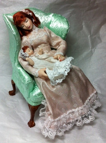 Sleeping Lady & Baby in Chair