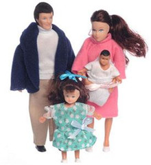 Brunette Family of Dolls