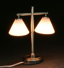 Modern Double Down Shade Table Lamp - pewter