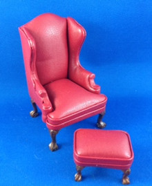 Red Leather Chair & Stool