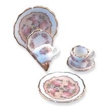Reutter Porcelain Classic Rose Plate Set/Holder