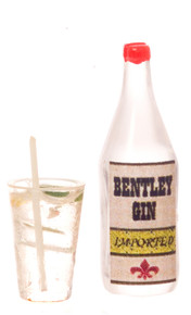 Gin Bottle with Gin & Tonic Cocktail