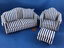 3 Piece Blue Striped Living Room Set