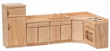 5 pc. oak kitchen cupboard set