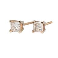 Pre-Owned Diamond Princess Cut 0.5 Carat 14ct Gold Earrings