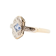 Edwardian 18ct Gold Sapphire and Diamond Dress Ring