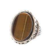 Pre-owned Gents Tigers Eye 9ct Gold Signet Ring