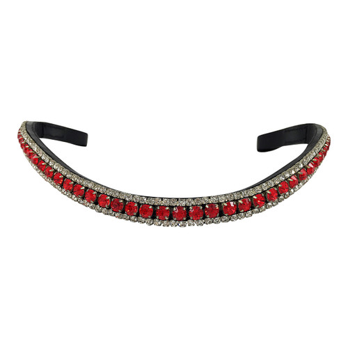 Mega Bling Browband - Three Rows Red and Clear Crystals - Front
