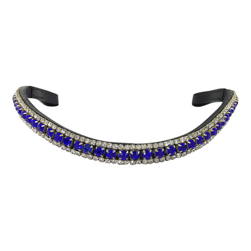 Mega-Bling Browband - Three Rows Blue and Clear Crystals - Front
