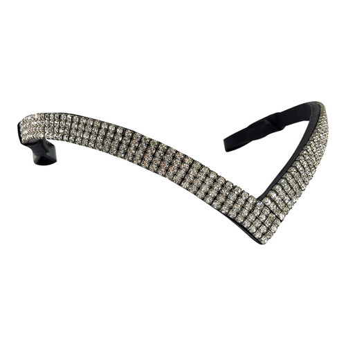 V-Shaped Bling Browband - Four Rows Clear Crystals - Front