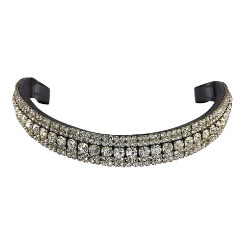 Mega-Bling Browband (Brown) - Five Rows Clear Crystals - Front