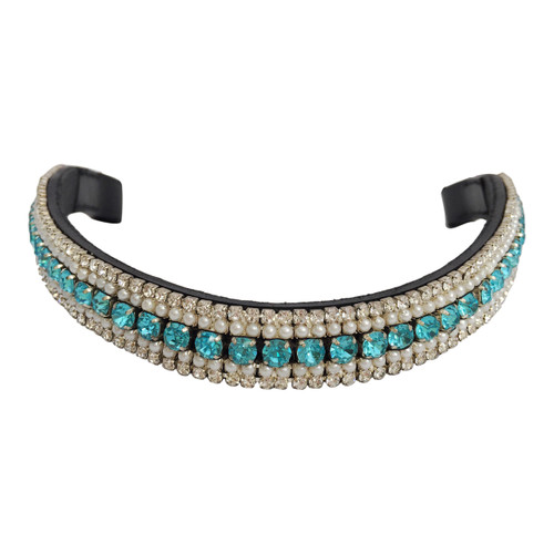 Pearl/Aqua/Clear Crystal Browband - front view