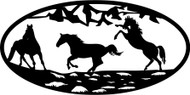 Oval Insert, 3 Horses