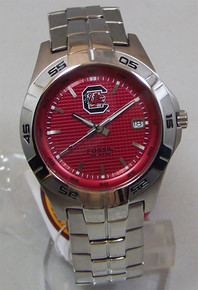 South Carolina Gamecocks Watch Fossil Mens Three Hand Date Wristwatch