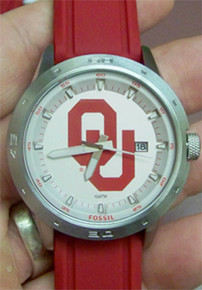 Oklahoma Sooners Fossil Three Hand Date Silicone Watch Li3088